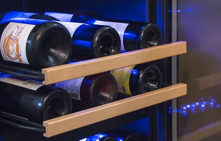different wines in mini fridge