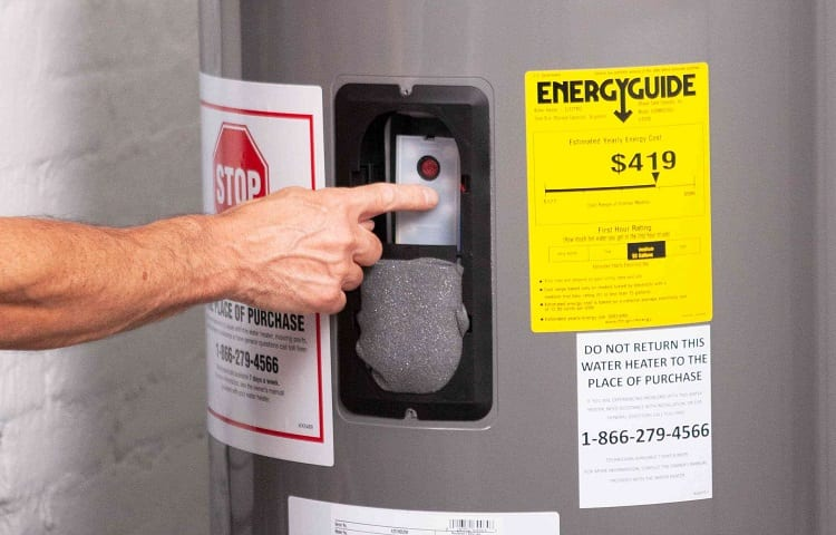 Energyguide label on water heater