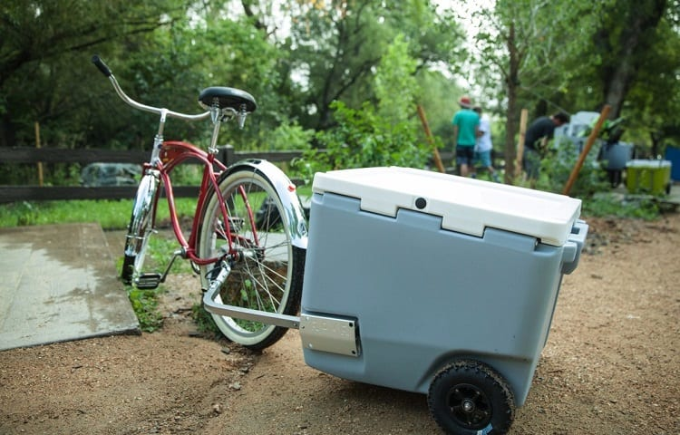 camping cooler on bike trip