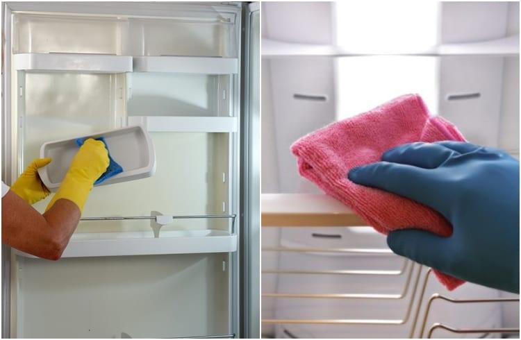 scrubbing refrigerator shelves
