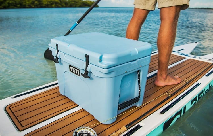 surfboard with yeti cooler