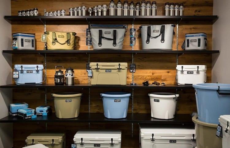 shelf with yeti brand