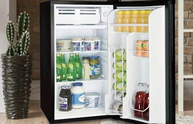 mini fridge with beverages