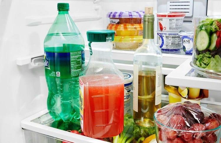 stored juices in mini fridge