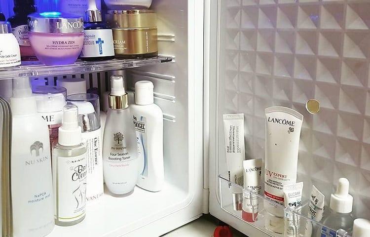 mini fridge with stored make up