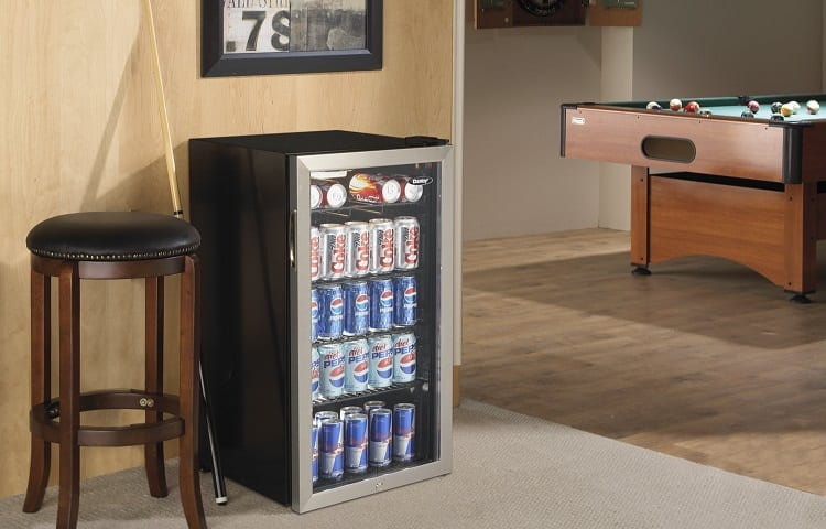 mini fridge in billiard room