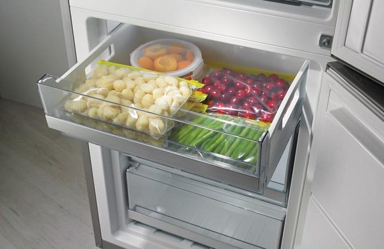 freezer with stored food