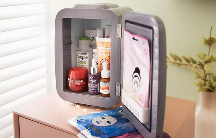 make up fridge with stored cosmetics