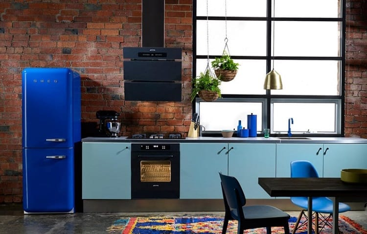 blue standalone fridge