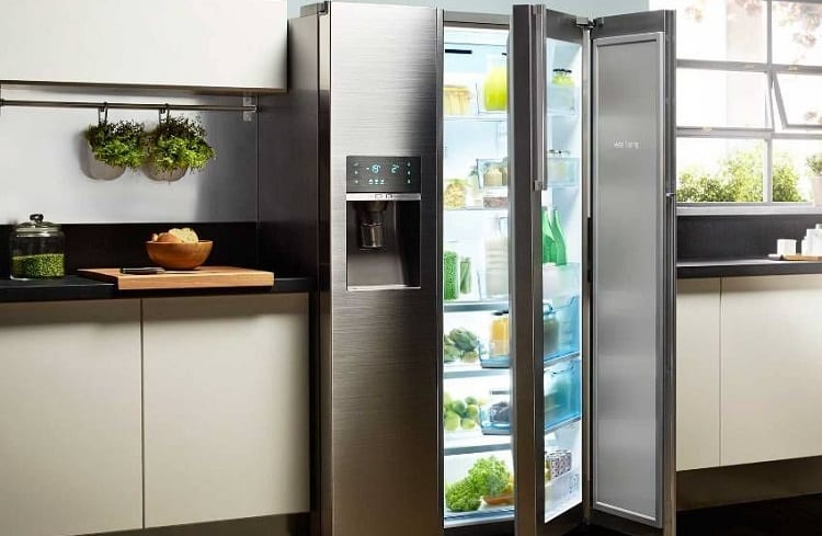 fridge with transparent door
