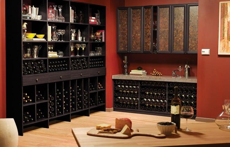 wine bottles in opened cabinet