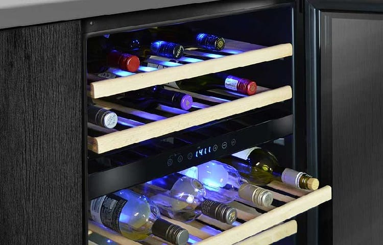 different types of wine in cooler