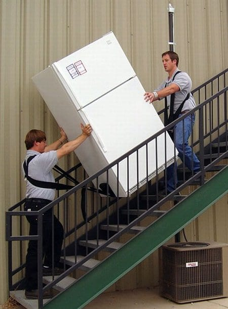 moving a refrigerator upstairs