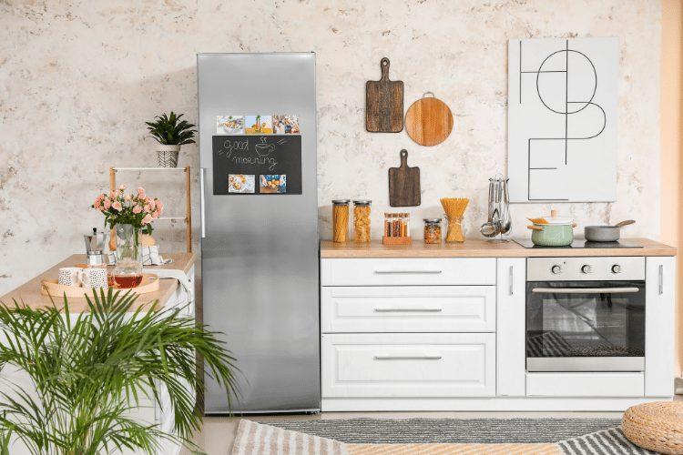 refrigerator next to stove